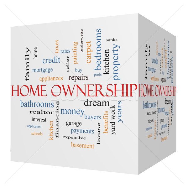 Home Ownership 3D Cube Word Cloud Concept on a Blackboard Stock photo © mybaitshop