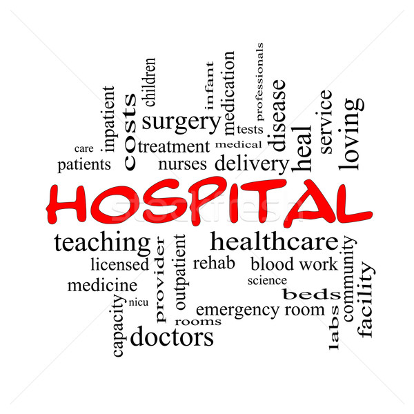 Hospital Word Cloud Concept in red caps Stock photo © mybaitshop