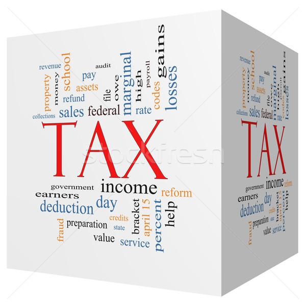 Stock photo: Tax 3D cube Word Cloud Concept