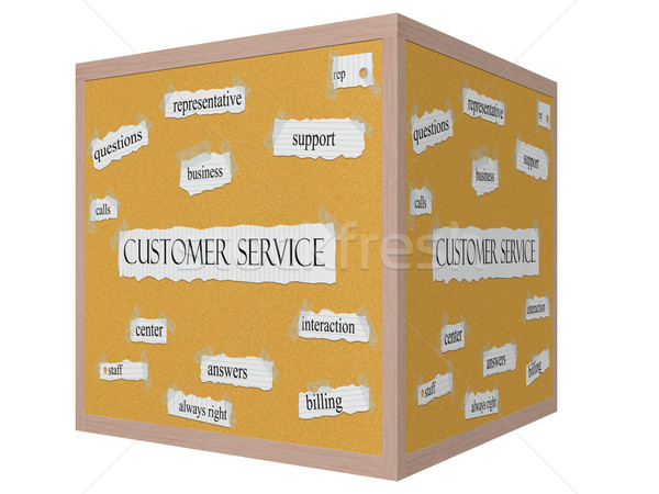 Customer Service 3D Cube Corkboard Word Concept Stock photo © mybaitshop