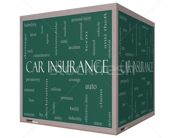 Autó biztosítás szófelhő 3D kocka iskolatábla Stock fotó © mybaitshop