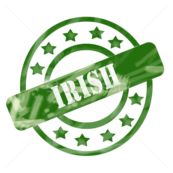 Green Weathered Irish Stamp Circles and Stars Stock photo © mybaitshop