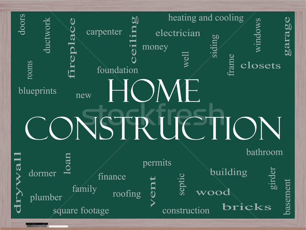 Home Construction Word Cloud Concept on a Blackboard Stock photo © mybaitshop