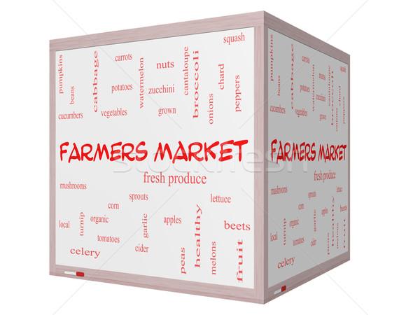 Farmers Market Word Cloud Concept on a 3D cube Whiteboard Stock photo © mybaitshop