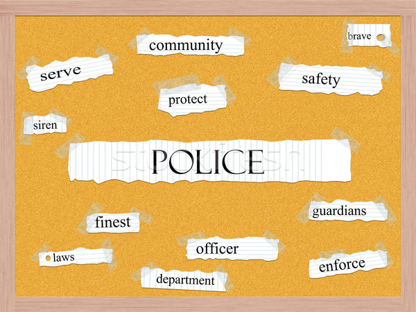 Police Corkboard Word Concept Stock photo © mybaitshop