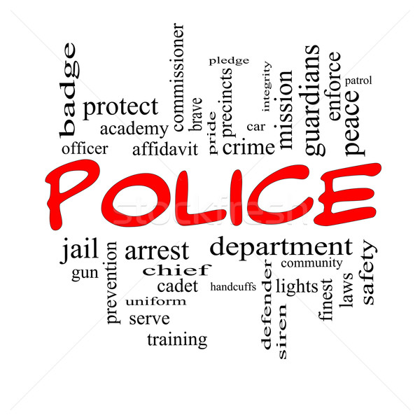 Police Word Cloud Concept in red caps Stock photo © mybaitshop