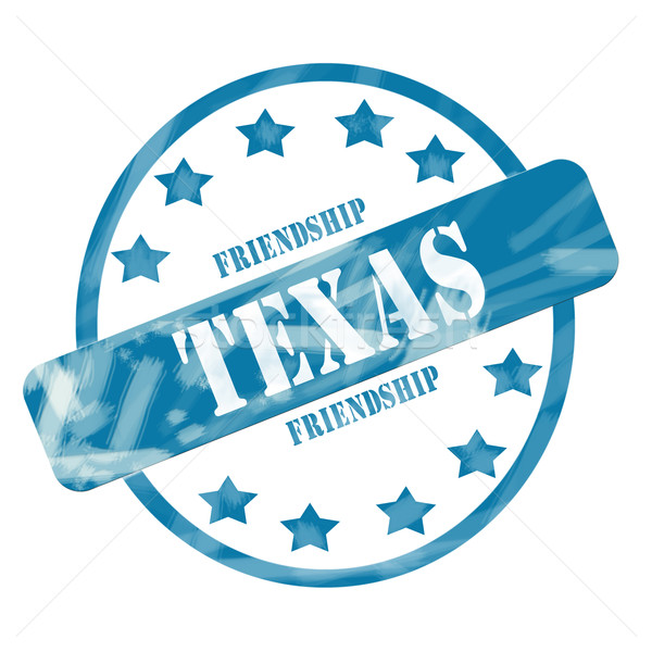 Blue Weathered Texas Stamp Circle and Stars Stock photo © mybaitshop