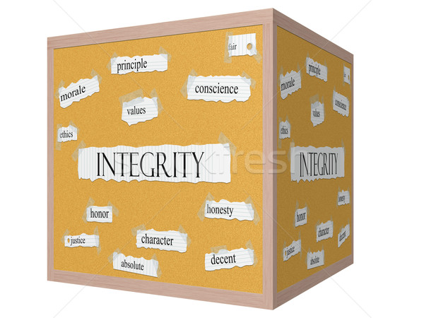 Integrity 3D cube Corkboard Word Concept Stock photo © mybaitshop