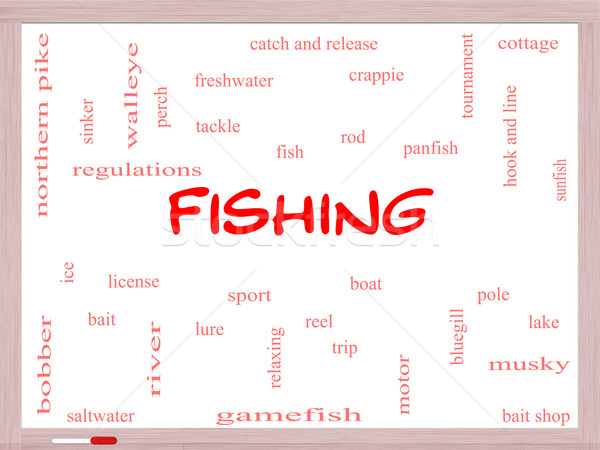 Fishing Word Cloud Concept on a Whiteboard Stock photo © mybaitshop