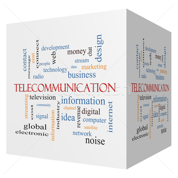 Telecommunicatie 3D kubus woordwolk groot stream Stockfoto © mybaitshop