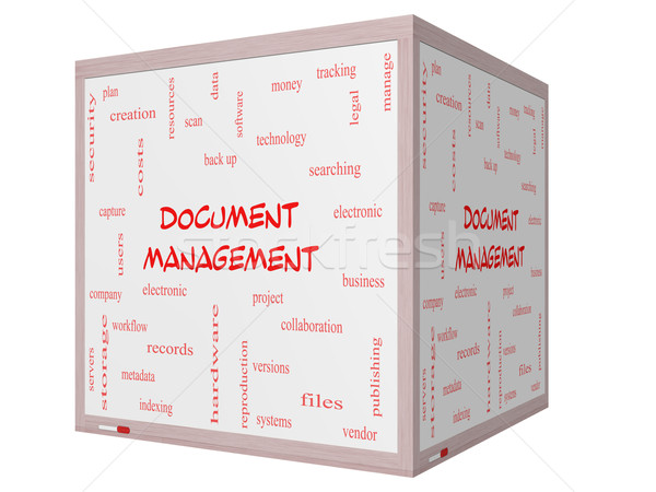 Document Management Word Cloud Concept on a 3D cube Whiteboard Stock photo © mybaitshop
