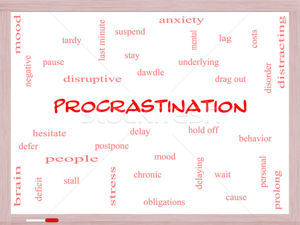 Procrastination Word Cloud Concept on a Whiteboard Stock photo © mybaitshop