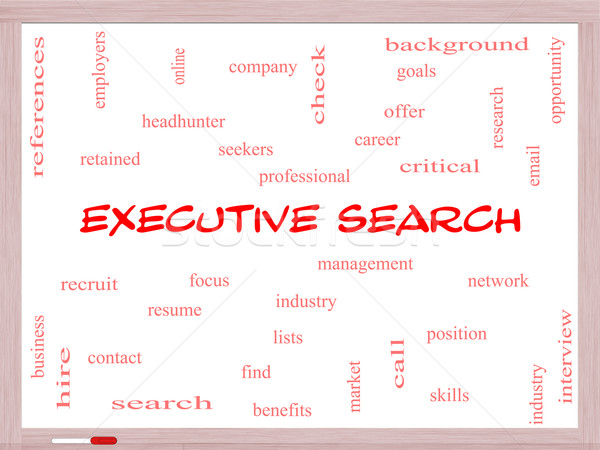 Executive Search Word Cloud Concept on a Whiteboard Stock photo © mybaitshop