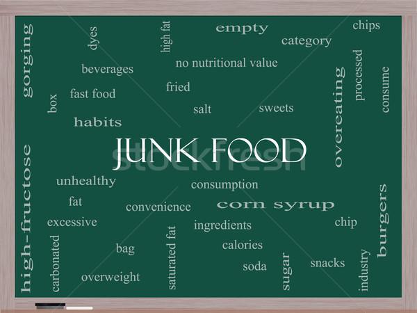 Egészségtelen étel szófelhő iskolatábla nagyszerű chip harapnivalók Stock fotó © mybaitshop