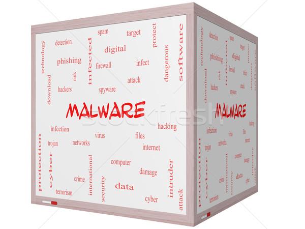 Malware woordwolk 3D kubus groot Stockfoto © mybaitshop