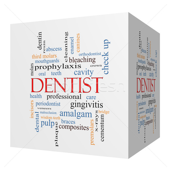 Dentist 3D cube Word Cloud Concept Stock photo © mybaitshop