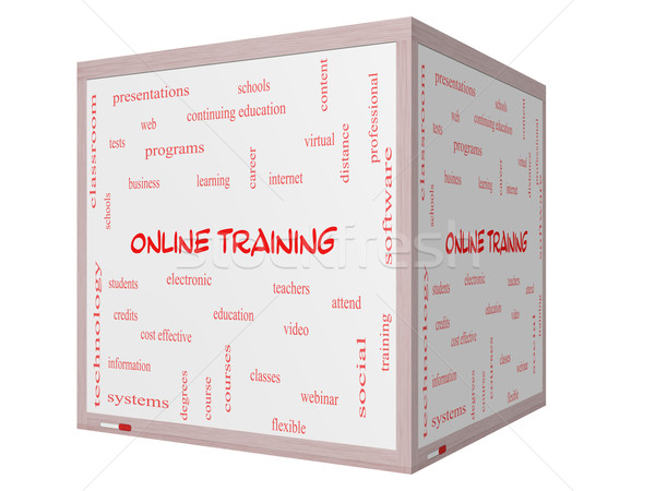 Online Training Word Cloud Concept on a 3D cube Whiteboard Stock photo © mybaitshop