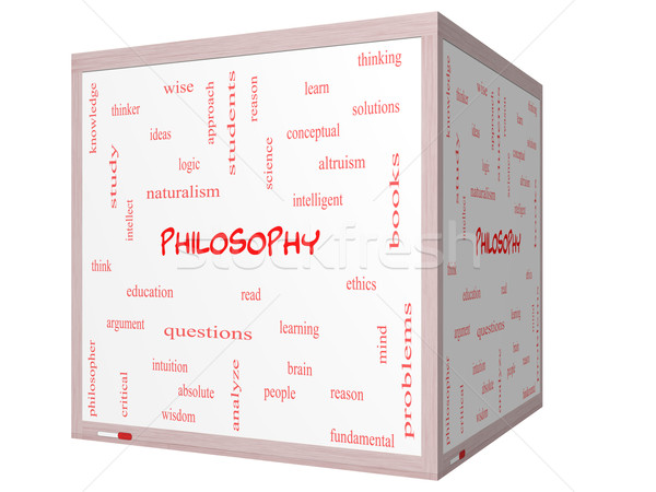 Philosophy Word Cloud Concept on a 3D cube Whiteboard Stock photo © mybaitshop