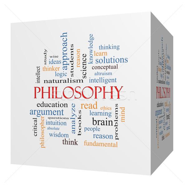 Filosofie 3D kubus woordwolk groot onderwijs Stockfoto © mybaitshop