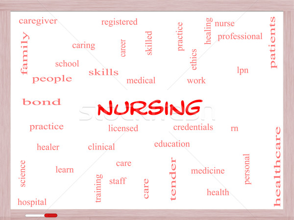 Nursing Word Cloud Concept on a Whiteboard Stock photo © mybaitshop