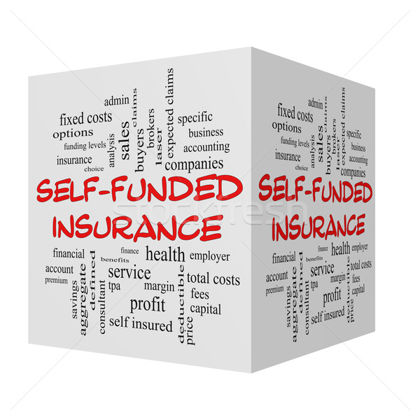 Self Funded Insurance 3D Word Cloud in red caps Stock photo © mybaitshop