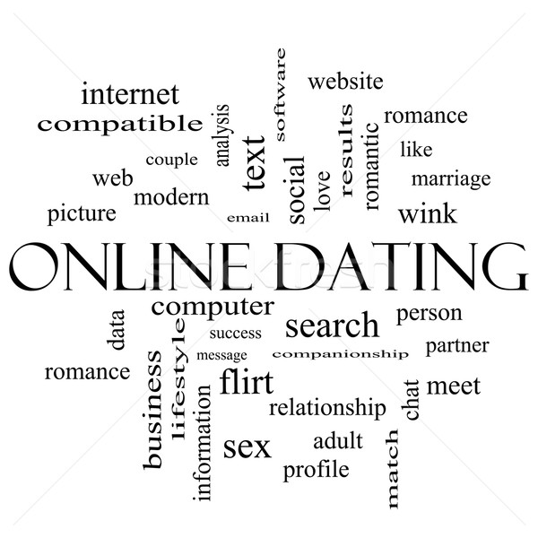 Online Dating Cloud Concept in black and white Stock photo © mybaitshop