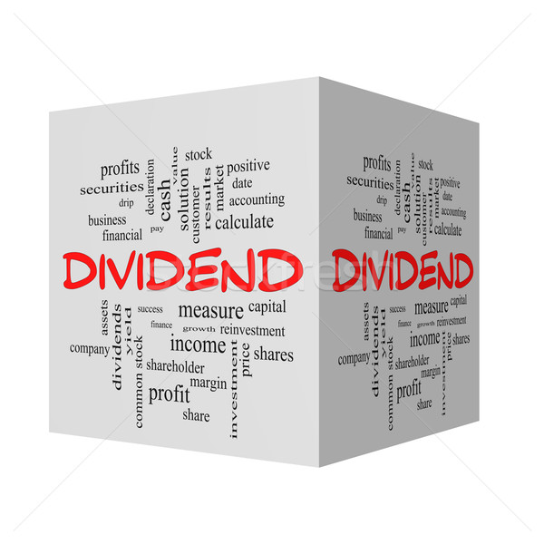 Dividend 3D Word Cloud Concept in red caps Stock photo © mybaitshop