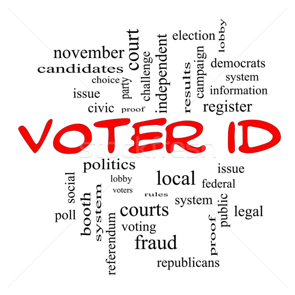 Voter ID Word Cloud Concept in red caps Stock photo © mybaitshop