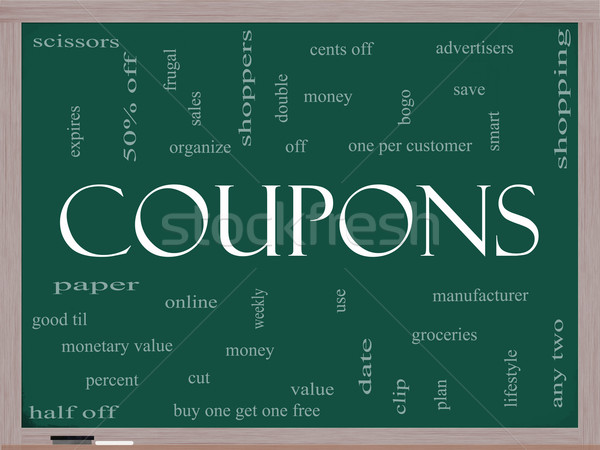 Coupons Word Cloud Concept on a Blackboard Stock photo © mybaitshop