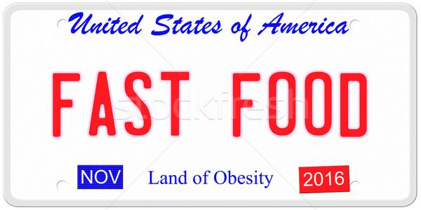 De comida rápida EUA imitación Estados Unidos América placa Foto stock © mybaitshop