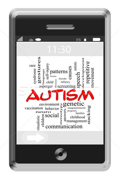 Autism Word Cloud Concept on Touchscreen Phone Stock photo © mybaitshop