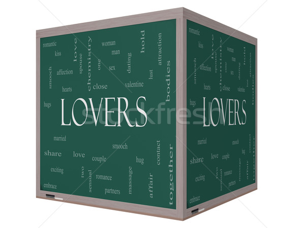 Lovers Word Cloud Concept on a 3D cube Blackboard Stock photo © mybaitshop