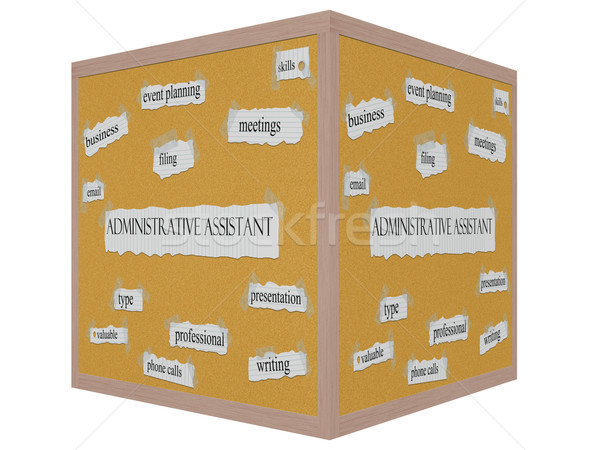 Administrative Assistant 3D cube Corkboard Word Concept Stock photo © mybaitshop