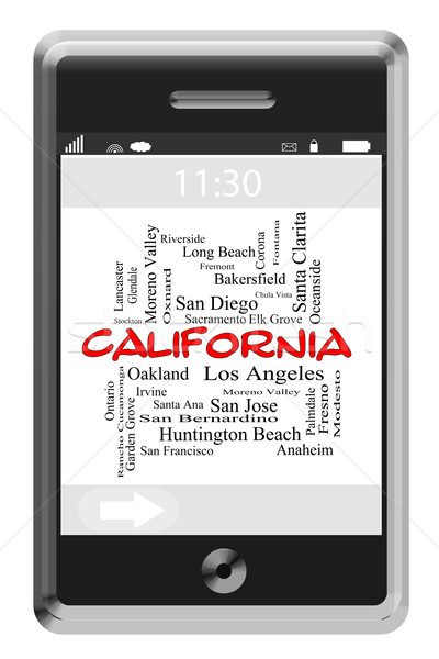 California State Word Cloud Concept on Touchscreen Phone Stock photo © mybaitshop