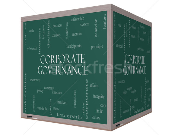 Corporate Governance Word Cloud Concept on a 3D cube Blackboard Stock photo © mybaitshop