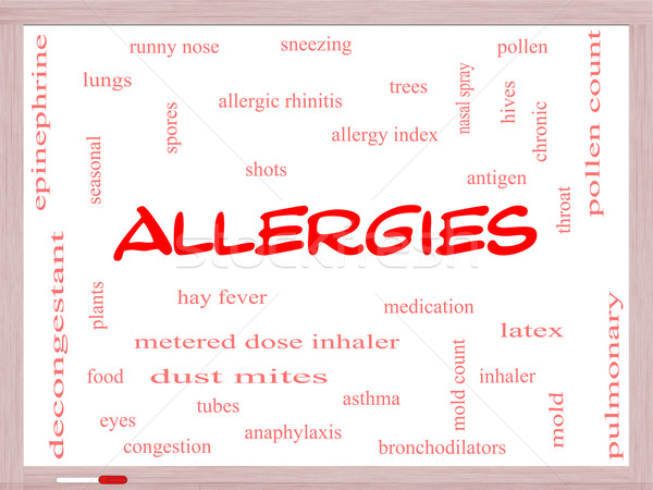 Allergies Word Cloud Concept on a Whiteboard Stock photo © mybaitshop