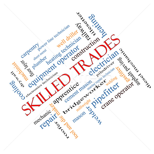 Skilled Trades Word Cloud Concept Angled Stock photo © mybaitshop