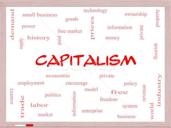Capitalism Word Cloud Concept on a Whiteboard Stock photo © mybaitshop