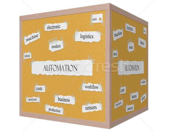 Automation 3D cube Corkboard Word Concept Stock photo © mybaitshop