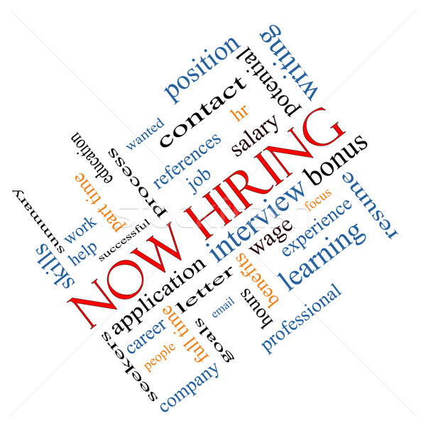 Now Hiring Word Cloud Concept Angled Stock photo © mybaitshop