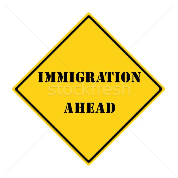 Immigration signe jaune noir diamant Photo stock © mybaitshop