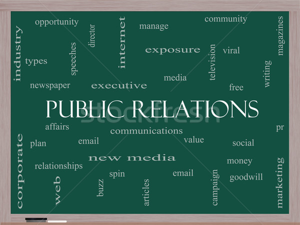 Public Relations Word Cloud Concept on a Blackboard Stock photo © mybaitshop