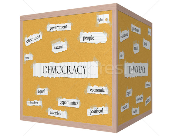 Democracy 3D cube Corkboard Word Concept Stock photo © mybaitshop