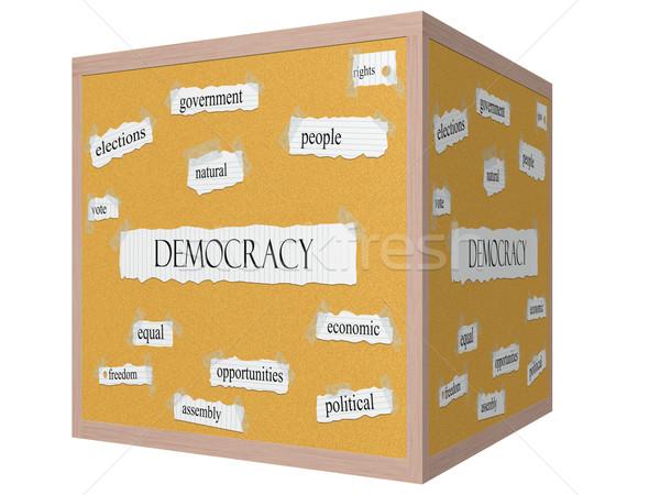 демократия 3D куб слово Правительство Сток-фото © mybaitshop