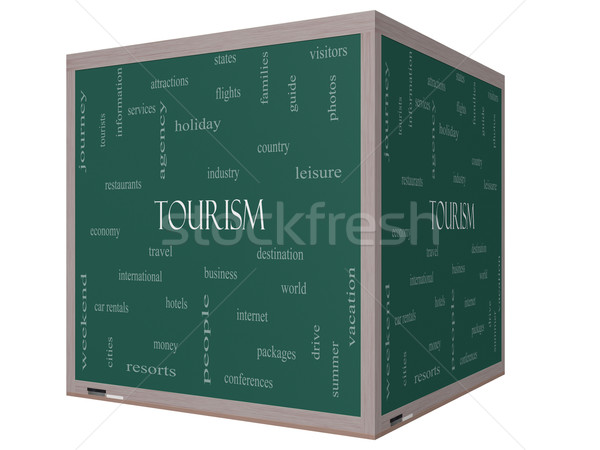 Tourism Word Cloud Concept on a 3D cube Blackboard Stock photo © mybaitshop
