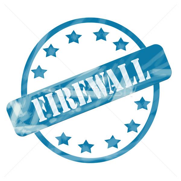 Blauw verweerde firewall stempel cirkel sterren Stockfoto © mybaitshop