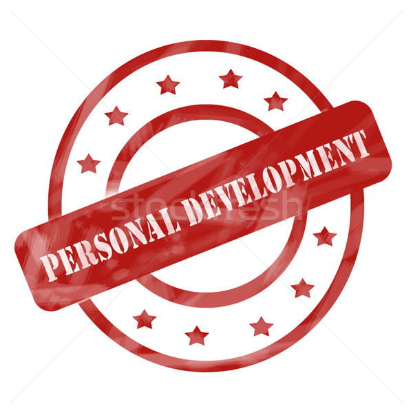Red Weathered Personal Development Stamp Circles and Stars Stock photo © mybaitshop