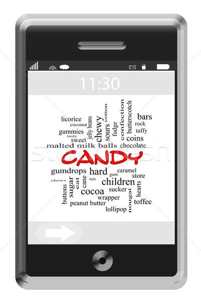 Candy chmura słowo ekran dotykowy telefonu słodkie Zdjęcia stock © mybaitshop