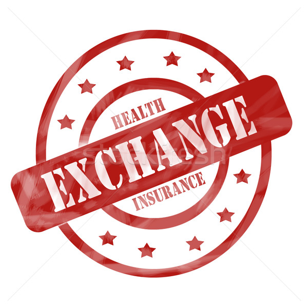 Red Weathered Health Insurance Exchange Stamp Circles and Stars Stock photo © mybaitshop
