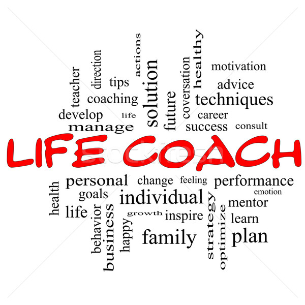 Life Coach Word Cloud Concept in red caps Stock photo © mybaitshop